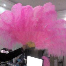 Большой веер из перьев страуса, 1 шт. - Розового цвета