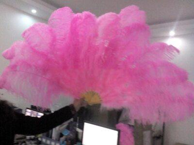 Большой веер из перьев страуса, 10 линий, 1 шт. - Розового цвета