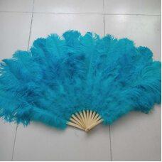 Большой веер из перьев страуса, 1 шт.- Голубой цвет