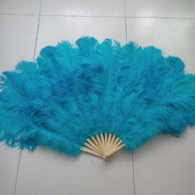Большой веер из перьев страуса, 10 линий, 1 шт.- Голубой цвет