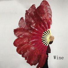 Большой веер из перьев страуса, 1 шт. - Цвет красое вино
