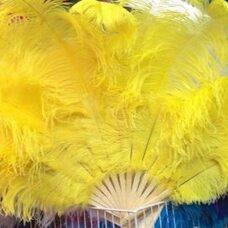 Большой веер из перьев страуса, 1 шт. - Желтого цвета