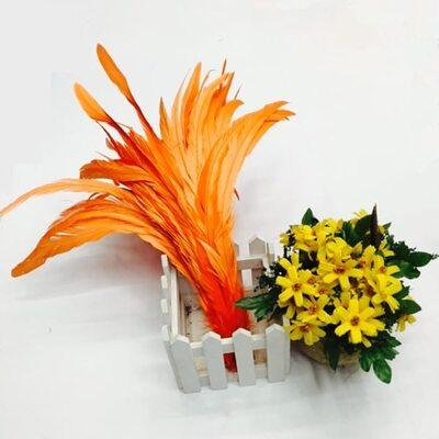 Перья петуха 30-35 см. 1 шт. Оранжевый цвет