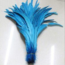Перья петуха 35-40 см. 1 шт. Голубой цвет