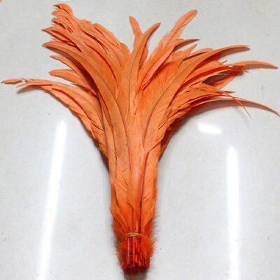 Перья петуха 35-40 см. 1 шт. Оранжевый цвет