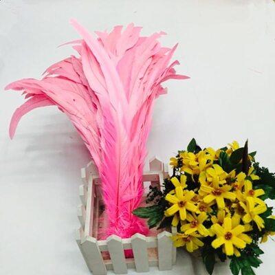 Перья петуха 35-40 см. 1 шт. Розовый цвет