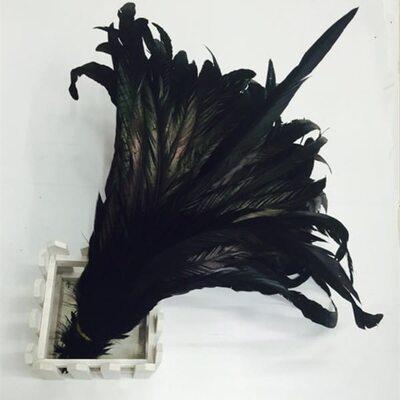 Перья петуха 35-40 см. Черного цвета - 1 шт.