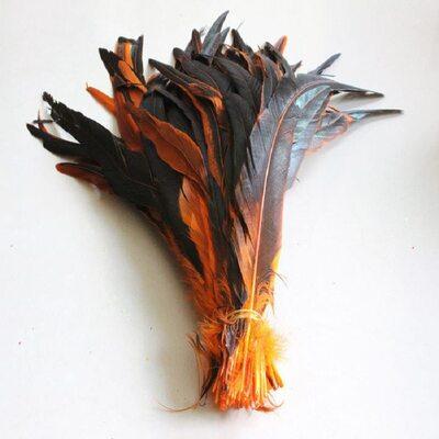 Перья петуха двухцветные 30-35 см. Оранжевый цвет