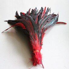 Перья петуха с отливом 30-35 см.Красный цвет