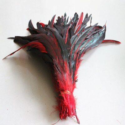 Перья петуха двухцветные 30-35 см.Красный цвет