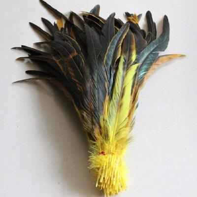 Перья петуха двухцветные 30-35 см. Желтый цвет
