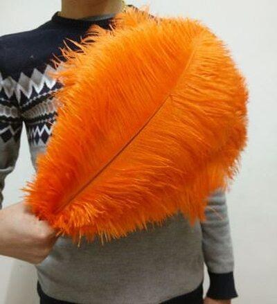 Перья страуса 35-40 см. Оранжевый цвет