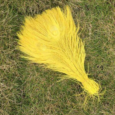 Цветные перья павлина 25-30 см. Желтый цвет