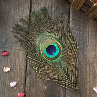 Перья павлина - Павлиний глаз 12-16 см. Натурального цвета