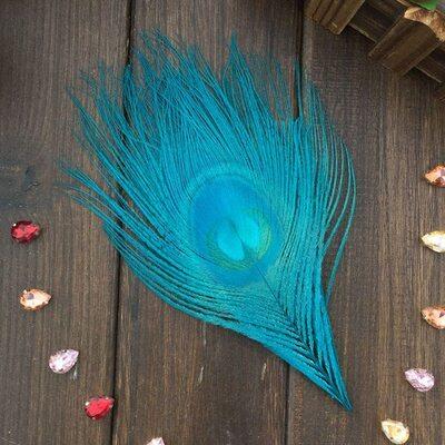 Перья павлина - Павлиний глаз 12-16 см. Голубого цвета