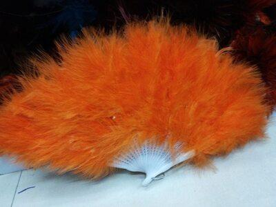 Веер из перьев Индейки - Оранжевый цвет