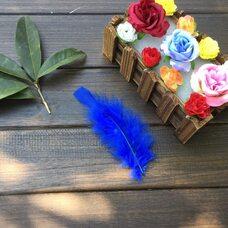 Плоские перья индейки 12-18 см. 20 шт. Синий цвет