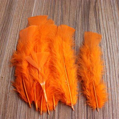 Плоские перья индейки 12-18 см. 20 шт. Оранжевый цвет