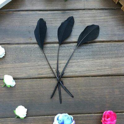 Перья гуся на ножке 13-18 см. 10 шт. Черного цвета