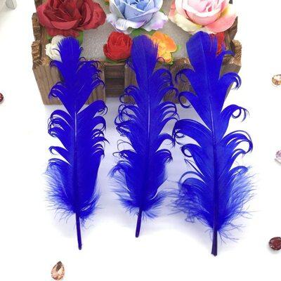 """Перья гуся """"кудри"""" 13-18 см. 10 шт. Синего цвета"""