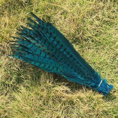 Перья фазана 30-35 см. Голубые