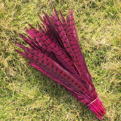 Перья фазана 30-35 см. Фуксия