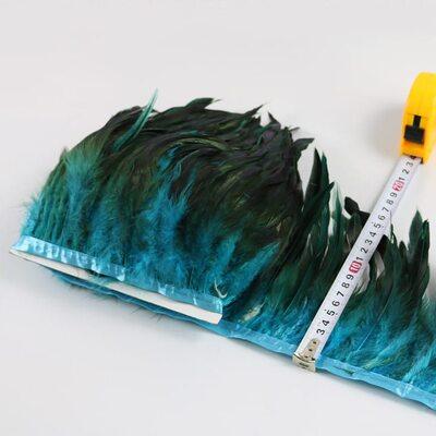 Тесьма из перьев петуха на ленте 12-20 см, 1м. Голубой цвет