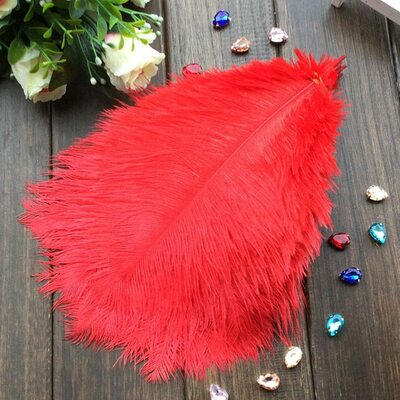 Перья страуса 25-30 см. Красный цвет