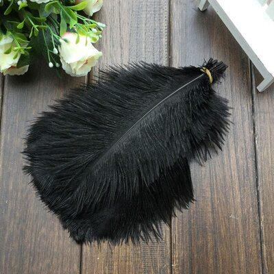 Перья страуса 25-30 см. Черный цвет