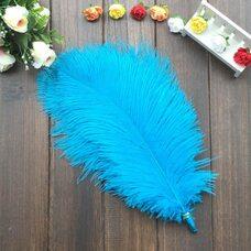 Перья страуса 30-35 см. Голубой цвет