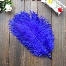 Перья страуса 30-35 см. Синий цвет
