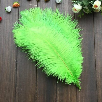 Перья страуса 35-40 см. Салатовый цвет