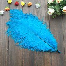 Перья страуса 35-40 см. Голубой цвет