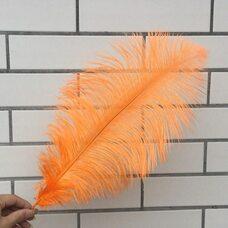Премиум перья страуса 40-45 см. Оранжевый цвет