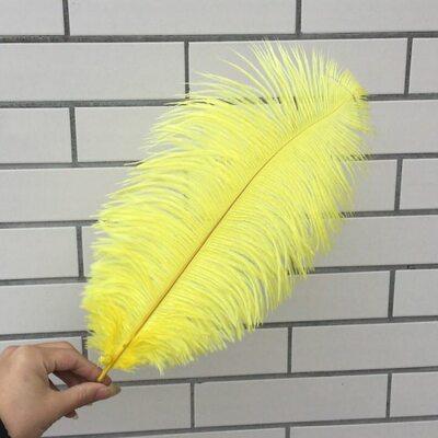 Премиум перья страуса 40-45 см. Желтый цвет