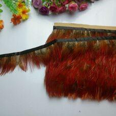 Тесьма из перьев цесарки 5-6 см, 1м. Красная #11