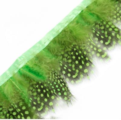 Тесьма из перьев цесарки 6-10 см, 1м. Зеленое яблоко