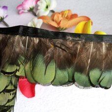 Тесьма из декоративных перьев Pheasаnt 4-6 см, 1м. Зеленая #12