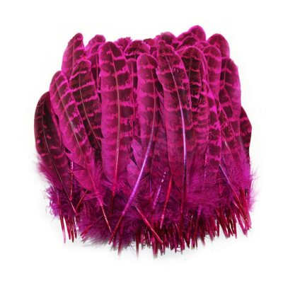 Перья фазана 10-15 см. 10 шт. Фуксия