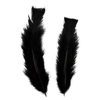 Плоские перья индейки 12-18 см. 20 шт. Черный цвет