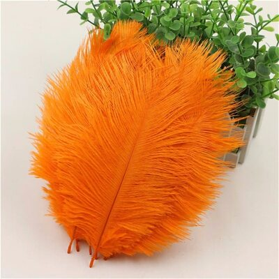 Перья страуса 15-20 см. Оранжевый цвет