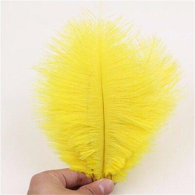 Перья страуса 15-20 см. Желтый цвет