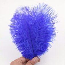 Перья страуса 15-20 см. Синий цвет