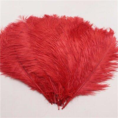 Перья страуса 35-40 см. Красный цвет