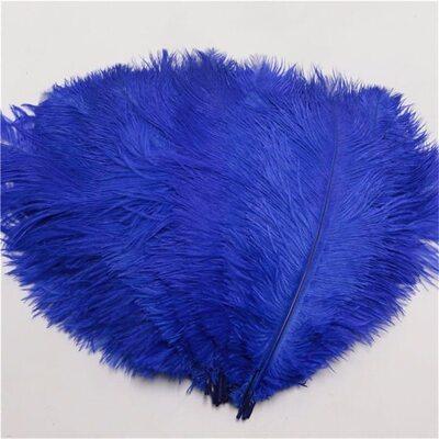Перья страуса 35-40 см. Синий цвет