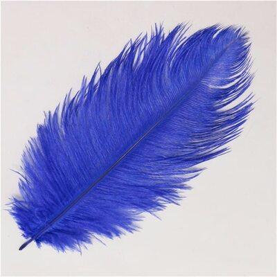 Премиум перья страуса 40-45 см. Синий цвет