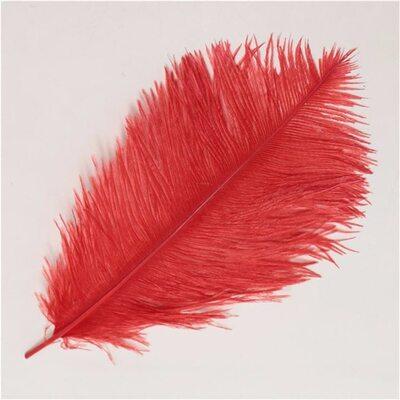 Премиум перья страуса 40-45 см. Красный цвет