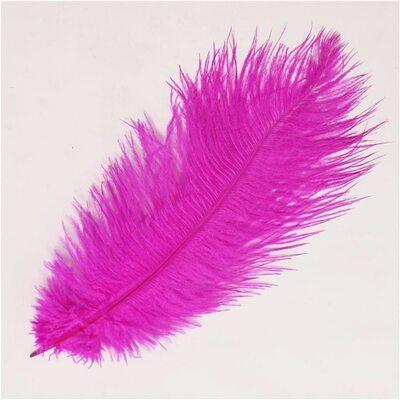Премиум перья страуса 40-45 см. Цвет фуксия