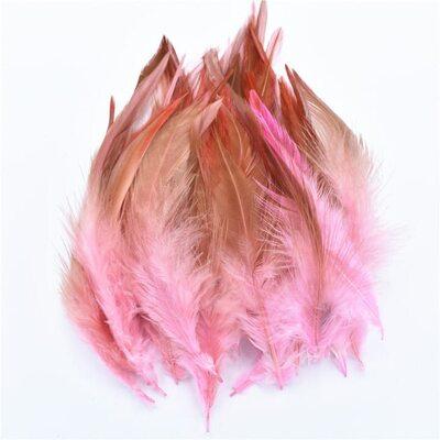 Перья петуха с оттенком 10-15 см. 50 шт. Светло розовый цвет