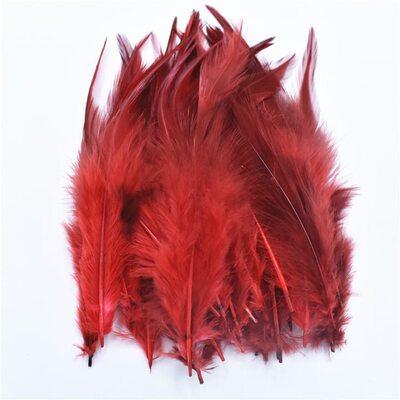 Перья петуха с оттенком 10-15 см. 50 шт. Красный цвет